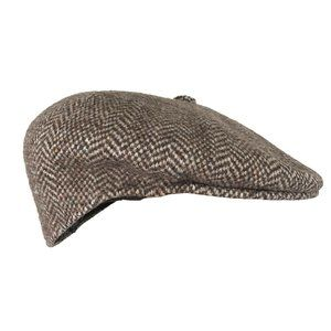 Kangol Design Brown Herringbone Wool Newsboy Cap